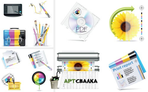 Элементы в стили CMYK | The elements in the styles CMYK